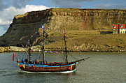 Cottages In England Prints - Bark Endeavour Passing Whitby East Cliff Print by Rod Johnson