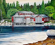 Barkhouse Boatshed Print by Marilyn  McNish