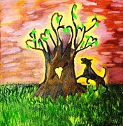 Barking Painting Metal Prints - Barking up the tree of life Metal Print by Lisa Brandel
