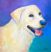 Smiling Painting Posters - Barkley Poster by Debi Pople