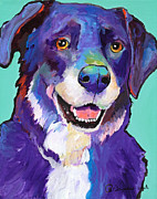 Pat Saunders-white Dog Paintings - Barkley by Pat Saunders-White