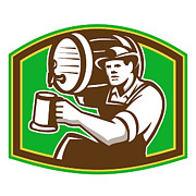 Barrel Digital Art - Barman Bartender Pour Beer Barrel Retro by Aloysius Patrimonio