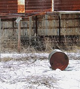 Old Barn And Rusted Barrel Photo Prints - Barn #41 Print by Todd Sherlock