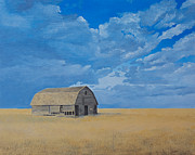 Old Barn Paintings - Barn Alone by Gwen Thelen