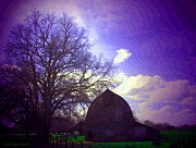 Friendly Digital Art - Barn And Oak Digital Painting by Joyce Dickens