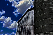Clouds Photographs Digital Art - Barn and Silo by Joann Copeland-Paul