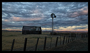 Barbed Wire Fences Photos - Barn and Windmill Sunset by Eric  Bjerke Sr