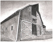 Barn Drawings Posters - Barn at noon Poster by Jimmy Wood