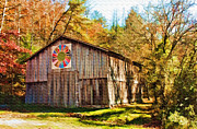 Quilt Posters - Barn at Red River Gorge Poster by Lena Auxier