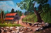 Split Rail Fence Prints - Barn at the Washed Out Road Print by Barney Hedrick