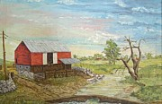 Barn Yard Prints - Barn Beside Cooks Creek Print by Judith Espinoza
