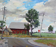 Cornfield Paintings - Barn by Lockport Rd by Ylli Haruni