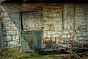 Wooden Building Prints - Barn Door Print by Joan Carroll