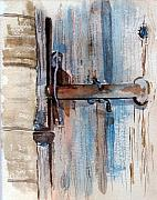 Old Barn Paintings - Barn Door Latch by Susan Crossman Buscho