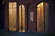 Traditional Doors Photo Framed Prints - Barn door Lighting Framed Print by Heiko Koehrer-Wagner