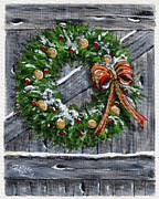 Barn Door Painting Prints - Barn Door Wreath Print by Rita Miller