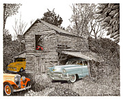 Pen And Ink Of Barn Art - Barn Find Cadillac and Ford P U  by Jack Pumphrey