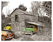 Pen And Ink Of Barn Drawings Posters - Barn Finds classic cars Poster by Jack Pumphrey