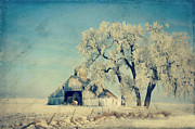 Rural Digital Art - Barn Frosty Trees by Julie Hamilton