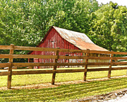 Barn Yard Prints - Barn In A Fence Print by Mike Flake