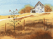 Colors Of Autumn Painting Prints - Barn in Autumn Print by Beverly Claire Kaiya