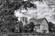 Barn And Silo Prints - Barn in Black and White Print by Margie Hurwich