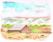 Watercolors Painting Originals - Barn in Cambria - California by Carlos G Groppa