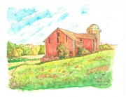 Watercolors Painting Originals - Barn in Cornfield - Wisconsin by Carlos G Groppa