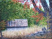 Old Barn Paintings - Barn in  Early Fall by Dana Carroll
