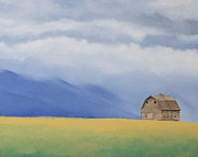Old Barn Paintings - Barn in Misty Hills by Gwen Thelen