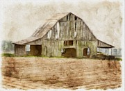 Arcitecture Framed Prints - Barn in pastel photoart Framed Print by Debbie Portwood