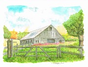 Watercolors Painting Originals - Barn in San Francisco - California by Carlos G Groppa