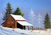 Snow-covered Landscape Painting Prints - Barn in Snow Number one Print by Henry Smith