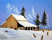 Old Fence Posts Painting Prints - Barn in Snow Number Two Print by Henry Smith