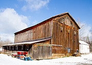 Sweet Corn Farm Prints - Barn in Snow Print by Tim  Fitzwater