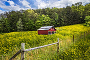 Spring Scenes Prints - Barn in the Meadow Print by Debra and Dave Vanderlaan