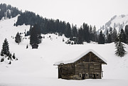 Winterly Framed Prints - Barn in the winterly alps - beautiful mountain landscape with lots of snow Framed Print by Matthias Hauser