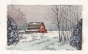 Barn Pen And Ink Mixed Media Posters - Barn in winter Poster by Tim Oliver