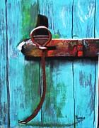 Iron Pastels Prints - Barn Latch Print by Michele Turney
