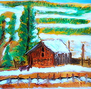 Country Schools Painting Prints - Barn near Loa Utah 1 Print by Richard W Linford