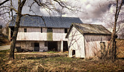 Old Mills Posters - Barn Near Utica Mills Covered Bridge Poster by Joan Carroll