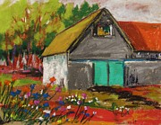 Old Barn Pastels - Barn Off From the Garden by John  Williams