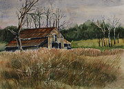 Tennessee Prints Paintings - Barn Off the Road by Janet Felts