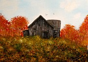 Pasture Painting Posters - Barn old rusted and deserted Poster by Gail Matthews