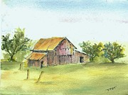 Old Barn Paintings - Barn on apple orchard by David Patrick