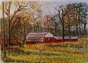 Andrew Pastels - Barn on Highway 16 by Andrew Pierce
