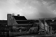 Storm Prints Photo Prints - Barn On The Farm and Lightning Thunderstorm BW Print by James Bo Insogna
