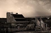 Rural Framed Prints - Barn On The Farm and Lightning Thunderstorm Sepia Framed Print by James Bo Insogna