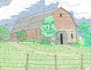 Shed Drawings Framed Prints - Barn on the Hill Framed Print by Calvert Koerber