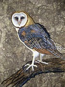 Amate Bark Paper Prints - Barn Owl Midnight Snack Print by Anne Shoemaker-Magdaleno